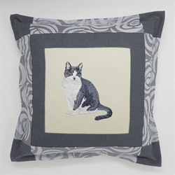 Black and White Cat Cushion